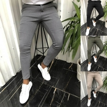Fashion Solid Color Middle-waist Man's Casual Pants