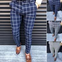 Fashion Middle-waist Man's Plaid Pants