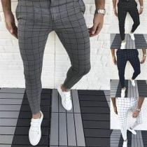 Fashion Middle-waist Slim Fit Man's Plaid Pants