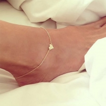Simple Style Heart Pendant Anklet
