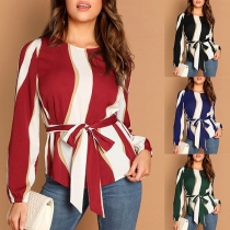 Fashion Long Sleeve Round Neck Striped Blouse with Waist Strap