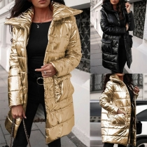 Fashion Solid Color Long Sleeve POLO Collar Padded Coat