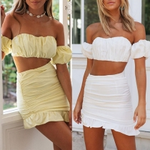 Sexy Off-shoulder Solid Color Bandeau Top + Ruffle Hem Skirt Two-piece Set