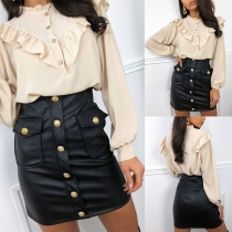 Fashion High Waist Front-button Slim Fit PU Leather Skirt