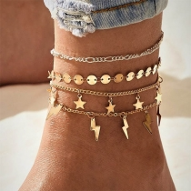Fashion Star Lightning Pendant Anklet Set 4 pcs/Set