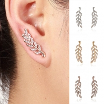 Fashion Rhinestone Inlaid Leaf Shaped Stud Earrings