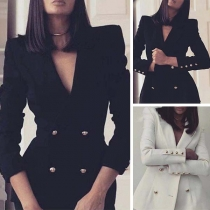 OL Style Long Sleeve Slim Fit Double-breasted Blazer Coat