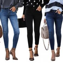 Fashion Middle Waist Slim Fit Jeans