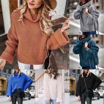 Fashion Solid Color Long Sleeve Turtleneck Loose Sweater