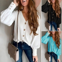 Fashion Solid Color Long Sleeve V-neck Front-button Top Cardigan