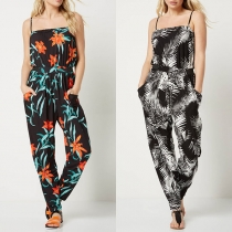Sexy Backless High Waist Printed Sling Jumpsuit