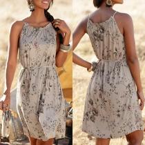 Fashion Off-shoulder Printed Sling Dress