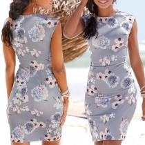 Elegant Style Sleeveless Round Neck Slim Fit Printed Dress