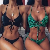 Sexy Leopard Printed Lace-up Halter Bikini Set