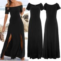 Sexy Schulterfreies Kleid mit Kurzen Ärmeln und Schlitz
