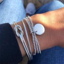 Modernes Silbernes Gedrehtes Armbandset mit Perlen 3 Stück / Set