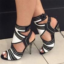 Sexy Schuhe mit Kontrastfarben Hohen Absätzen und Freien Zehen