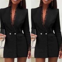 Stilvoller Blazer mit Langen Ärmeln V-Ausschnitt und Spitzendesign
