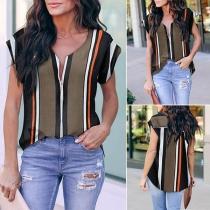 Moderne Gestreifte Bluse mit V-Ausschnitt und Kurzen Ärmeln