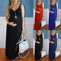 Sexy Umstandskleid mit V-Ausschnitt Volltonfarbe Hoher Taille und Trägern