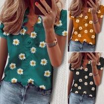 Moderne Bluse mit Kurzen Ärmeln Gänseblümchenmuster Rüschen und V-Ausschnitt
