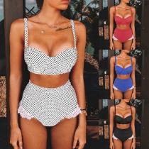 Sexy Bikini-Set mit Punktmuster Hoher Taille und Spitzendesign