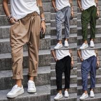 Moderne Hose mit Volltonfarbe Elastischer Taille und Lockerer Passform