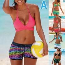 Sexy Bikini-Set mit Kontrastierenden Farben und Trägern
