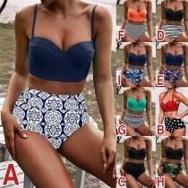 Sexy Bikini-Set mit Schickem Muster und Hoher Taille