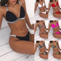 Sexy Bikini-Set mit Kontrastierenden Farben und Niedriger Taille