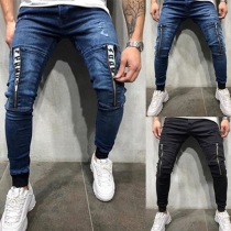 Moderne Jeans für Männer mit Mittelhoher Taille und Reißverschlüssen