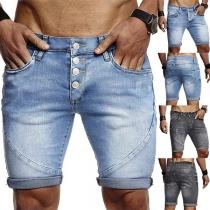 Moderne Knielange Jeansshorts für Männer mit Mittlhoher Taille