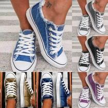 Moderne Canvas Schuhe mit Flachen Absätzen Runden Zehkappen und Schnürsenkeln