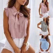 Nette Ärmellose Bluse mit Schleife und Punktmuster