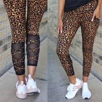 Moderne Leggings mit Hoher Taille Mesh und Leopardenmuster