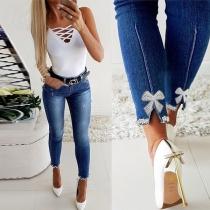 Moderne Jeans mit Perlen und Schleifen Hoher Taille und Schlanker Passform