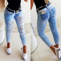 Moderne Jeans mit Schlanker Passform Spitzendesign Rissen und Hoher Taille