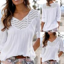 Moderne Bluse mit Volltonfarbe Langen Ärmeln V-Ausschnitt und Ausgeschnittenem Design