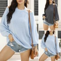 Sexy Schulterfreies Sweatshirt mit Laternenärmel und Volltonfarbe