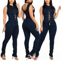 Sexy Lace-up Key-hole High Waist Slim Fit Denim Jumpsuit