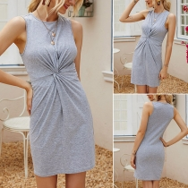 Simple Style Sleeveless Round Neck Solid Color Twisted Dress