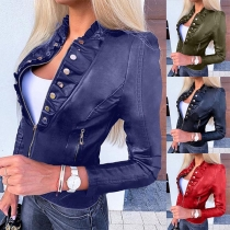 Fashion Solid Color Long Sleeve Stand Collar Slim Fit PU Leather Jacket