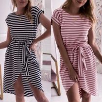 Fashion Short Sleeve Round Neck Slit Hem Striped Dress
