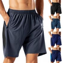 Modische Knielange Shorts für Herren mit Volltonfarbe und Elastischer Taille