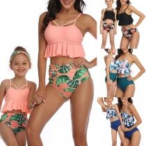 Sexy Bikini-Set für Mutter und Tochter mit Hoher Taille Rüschen am Saum und Schickem Muster