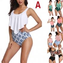 Sexy Backless High Waist Ruffle Parent-child Bikini Set