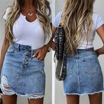 Moderner Jeansrock mit Hoher Taille Rissen und Unregelmäßigem Saum