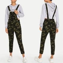 Fashion High Waist Camouflage Printed Overalls