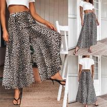 Moderne Hose mit Hoher Taille Leopardenmuster mit Weiten Beinen