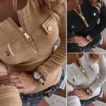 Modernes Sweatshirt mit Volltonfarbe Langen Ärmeln Schlanker Passform und Reißverschluss